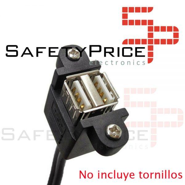 Cable de extension alargador Doble USB 2.0 macho a Doble USB hembra de montaje panel