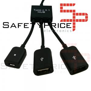 Cable Adaptador USB-C Tipo C Host HUB a 2 USB Hembra para Smartphone Tablet Android