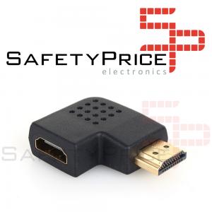 Adaptador HDMI Macho a HDMI Hembra Ángulo 90º Conector 1.4 izquierda