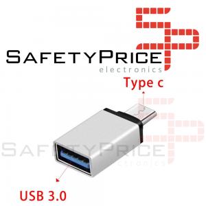 Adaptador USB 3.0 Hembra a Tipo C USB 3.1 Macho OTG PLATA