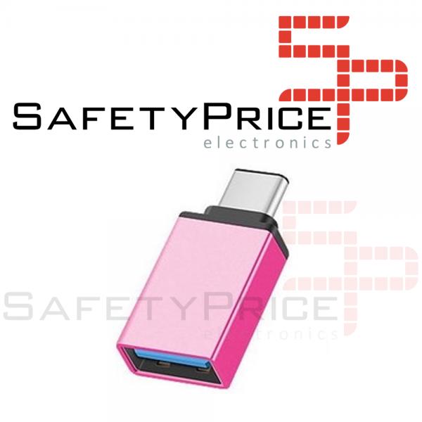 Adaptador USB 3.0 Hembra a Tipo C USB 3.1 Macho OTG ROSA