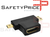 Conector Adaptador Convertidor 3 en 1 HDMI v1.4 hembra a mini y micro HDMI macho