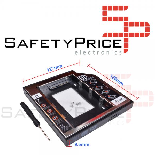 """Adaptador disco duro 2.5"""" SDD HDD 7,00mm a unidad optica 9,5mm Portatil + DESTORNILLADOR"""