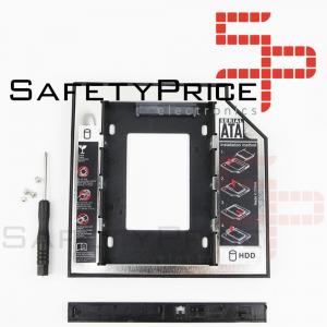 """Adaptador disco duro 2.5"""" SDD HDD 7,00mm a unidad optica 12,7mm Portatil + DESTORNILLADOR"""