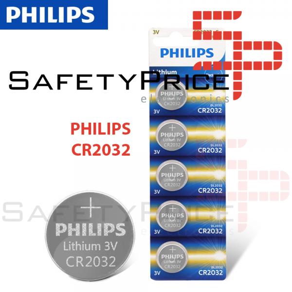 5x Pila de boton PHILIPS bateria original Litio CR2032 3V