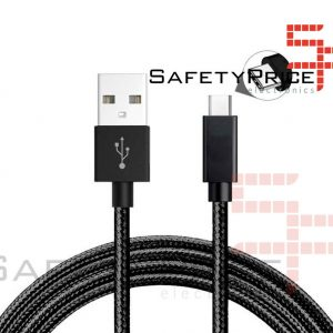CABLE USB-C ALUMINIO TRENZADO NYLON  MOVIL TABLET TIPO C NEGRO 1m