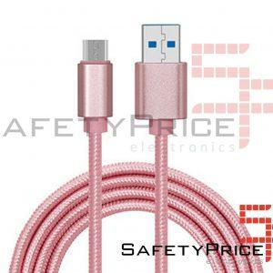 CABLE USB-C ALUMINIO TRENZADO NYLON MOVIL TABLET TIPO C ROSA 1m