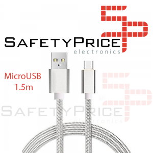 CABLE MICRO USB ALUMINIO TRENZADO PLATA NYLON CARGA RAPIDA 1.5m