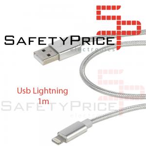 Cable cargador USB lightning 8 pin aluminio trenzado nylon COMPATIBLE iphone ipad 1m PLATA