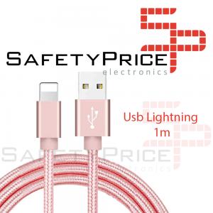 Cable cargador USB lightning 8 pin aluminio trenzado nylon COMPATIBLE iphone ipad 1m ROSA