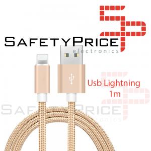 Cable cargador USB lightning 8 pin aluminio trenzado nylon COMPATIBLE iphone ipad 1m ORO