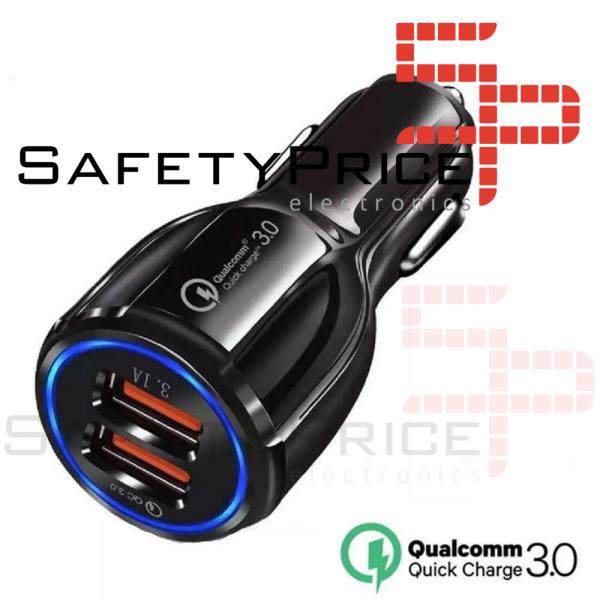 Cargador de movil para coche mechero Carga rapida doble USB 3.1A qualcomm 3.0