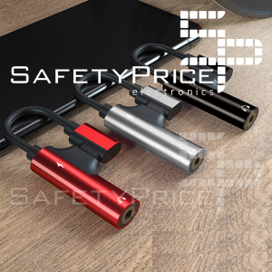 Adaptador USB-C 2 en 1 Tipo C a jack auriculares 3.5mm + carga NEGRO