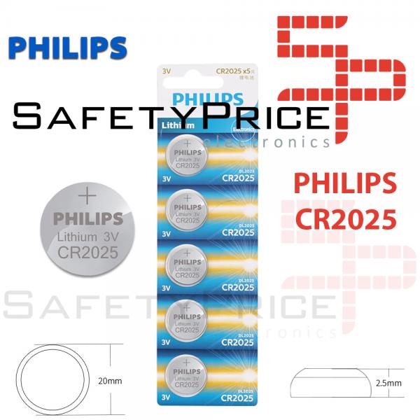2x Pila de boton PHILIPS bateria original Litio CR2025 3V