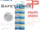 5x Pila de boton PHILIPS bateria original Litio CR2025 3V