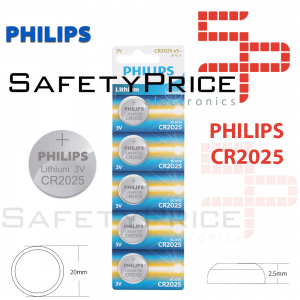 5x Pila de boton PHILIPS bateria original Litio CR2025 3V