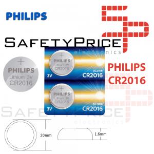2x Pila de boton PHILIPS bateria original Litio CR2016 3V
