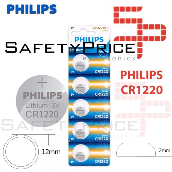 5x Pila de boton PHILIPS bateria original Litio CR1220 3V