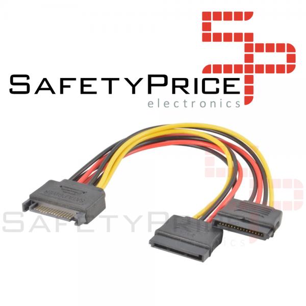 Cable Adaptador Divisor Splitter Alimentación SATA 15 PIN MACHO A DOBLE 2x Hembra 20CM