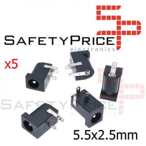 5X CONECTOR DC JACK HEMBRA 5.5 X 2.5mm