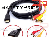 Cable 1080p HDMI Macho a 3RCA Adaptador Transmisión Salida Audio Video 1,5m REF2006
