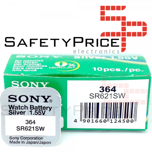 10x Pila Boton SONY Original 364 (sr621sw) 1,55V