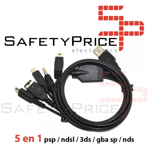 5 en 1 Cable de Carga USB psp / ndsl / 3ds / gba sp / nds Cargador 115cm REF2133