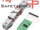 HX711 Módulo Conversor + Celda de Carga 1kg A/D 24 Bits REF2152