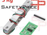 HX711 Módulo Conversor + Celda de Carga 5kg A/D 24 Bits REF2153