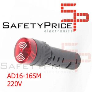 Zumbador activo LED indicador de alarma AD16-16SM 220V