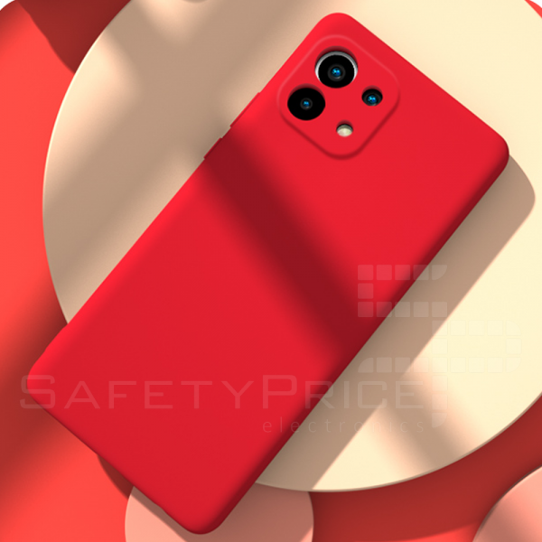 "Funda Carcasa Silicona Gel TPU Lisa Para Xiaomi Mi 11 5G 6.81"" Rojo"