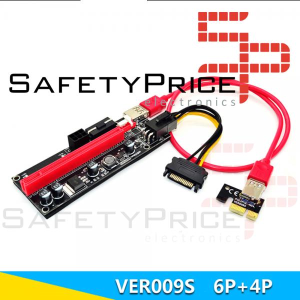 Cable Riser VER009 mineria mini PCIe 1x a PCIe 16x extensor PCI Express USB 3.0 60cm