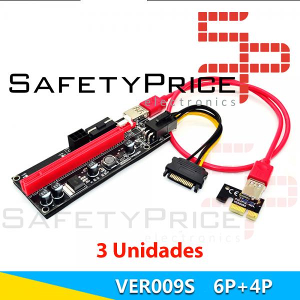 3x Cable Riser VER009 mineria mini PCIe 1x a PCIe 16x extensor PCI Express USB 3.0 60cm