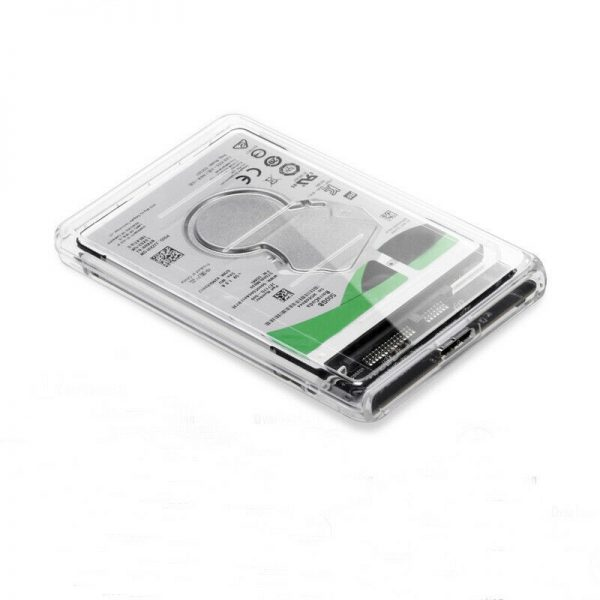 "Caja Carcasa de disco duro usb 3.0 SSD HDD SATA 2.5"" TRANSPARENTE"