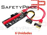 6x Cable Riser VER009 mineria mini PCIe 1x a PCIe 16x extensor PCI Express USB 3.0 60cm