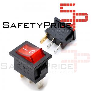 Interruptor ON OFF con luz 220v ROJO rectangular cuadrado SPST 6A 220v
